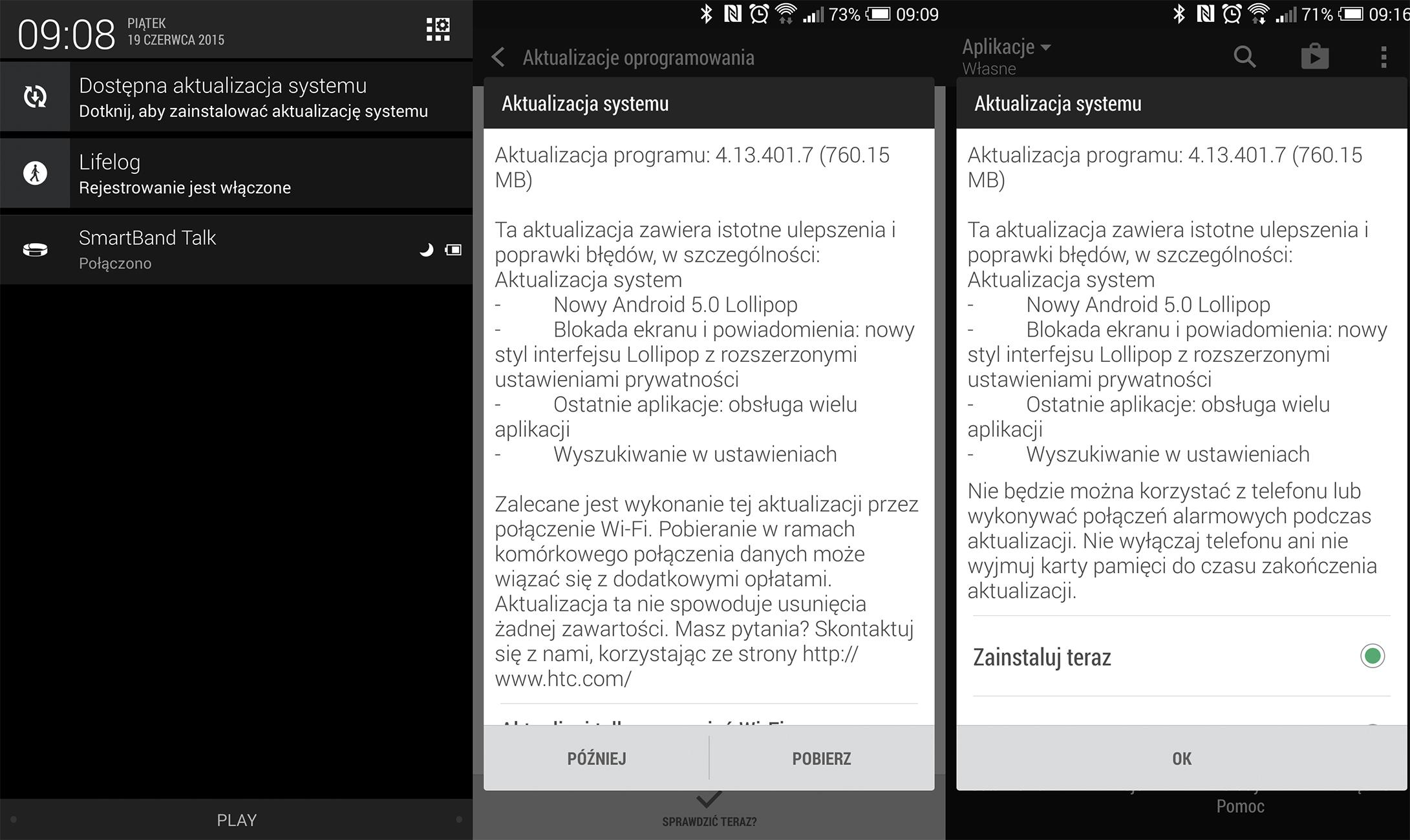 Aktualizacja Lollipop HTC One Max