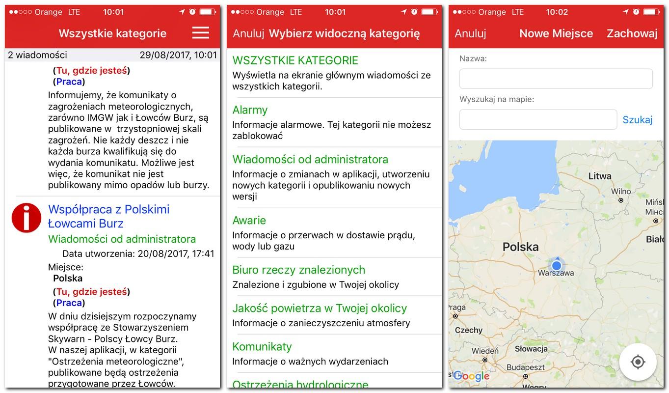 smartfon aplikacja informacje o zagrożeniach