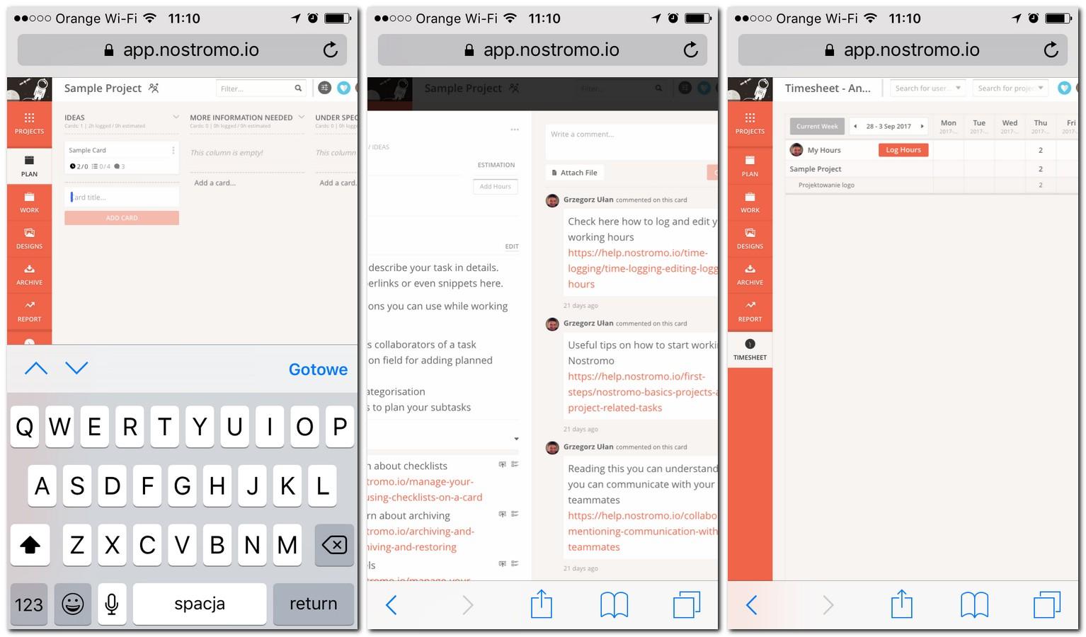 Nostromo w aplikacji mobilnej na smartfonie