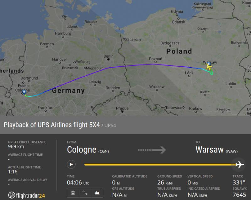 lot samolotu UPS