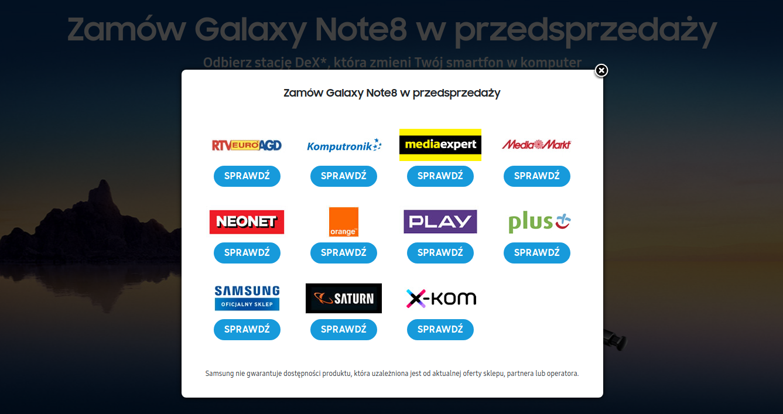Ceny Samsung Galaxy Note 8 wsklepach