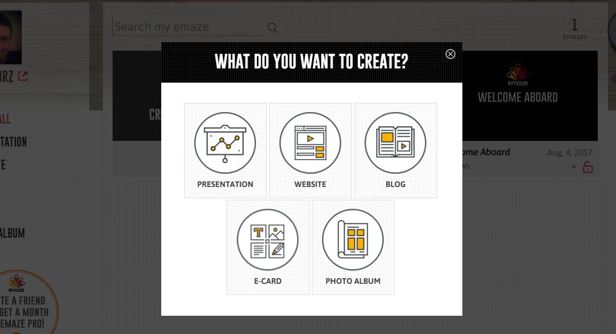 emaze.me tworzenie strony wybór typu strony