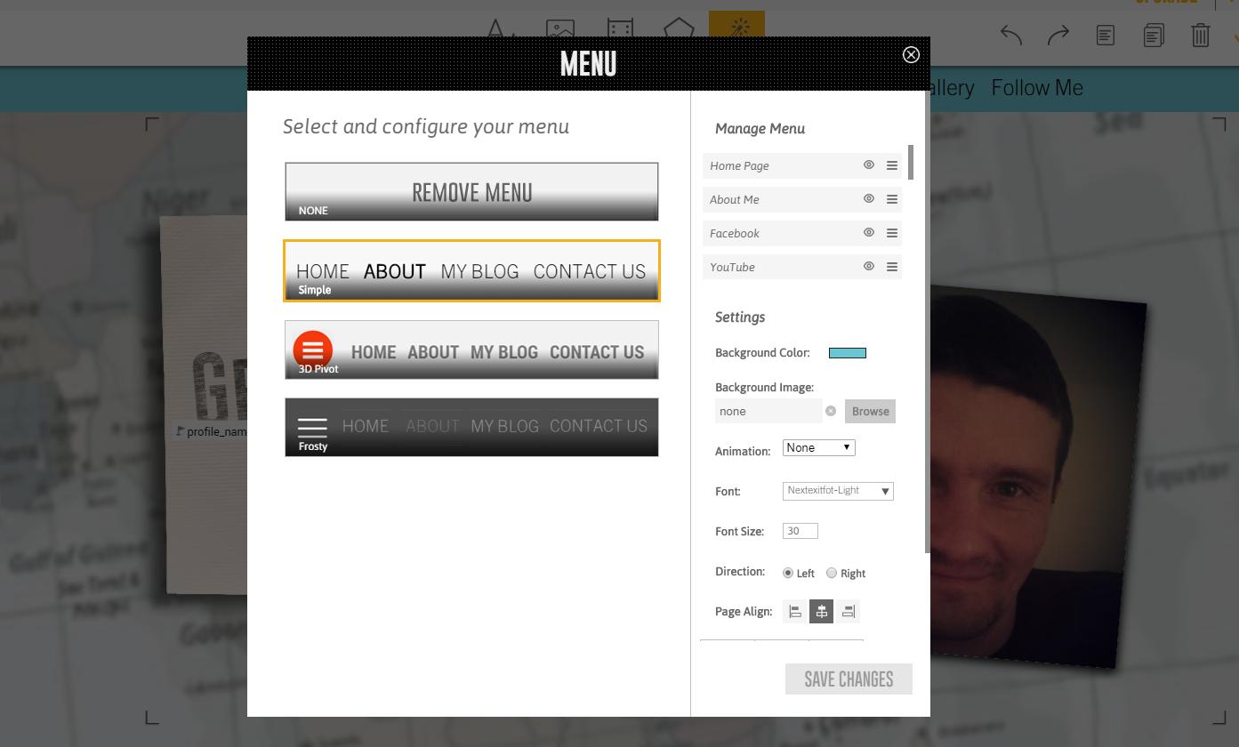 emaze.me tworzenie strony - menu edycji