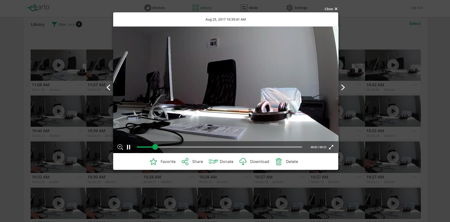podgląd nagranego obrazu zkamery Netgear Arlo Baby