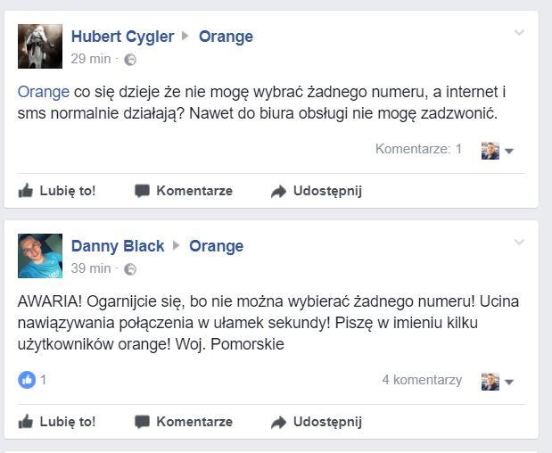 Orange komentarze facebook awaria