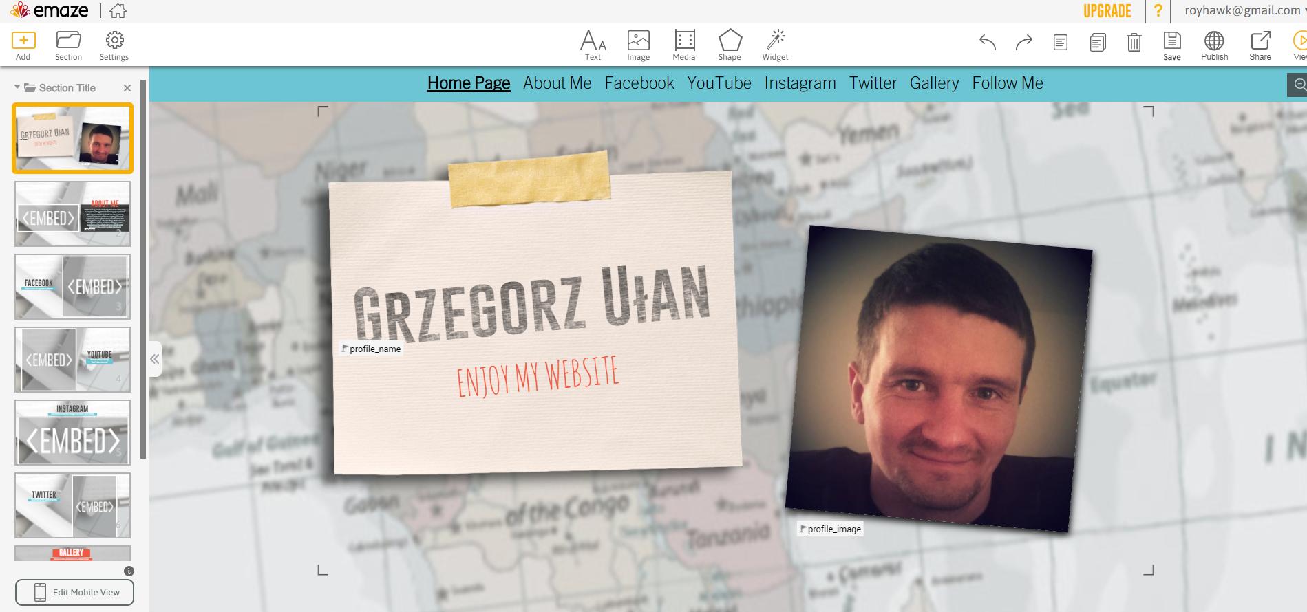 emaze.me tworzenie strony - edycja strony