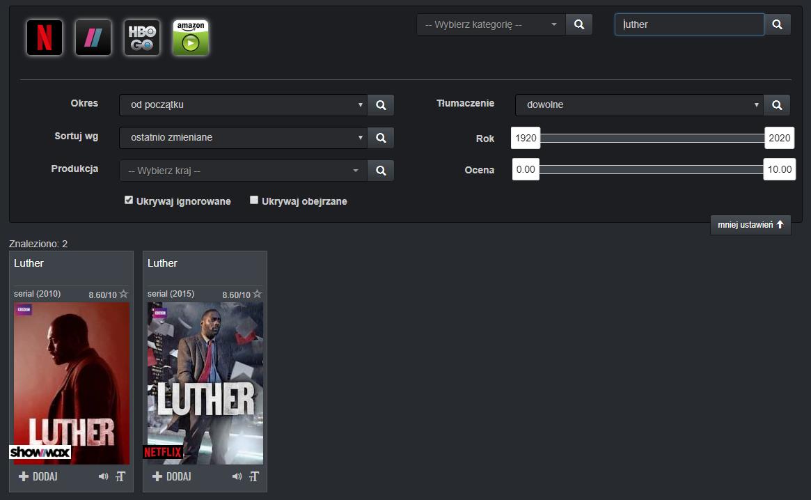 sortowanie wyszukiwania filtry upflix