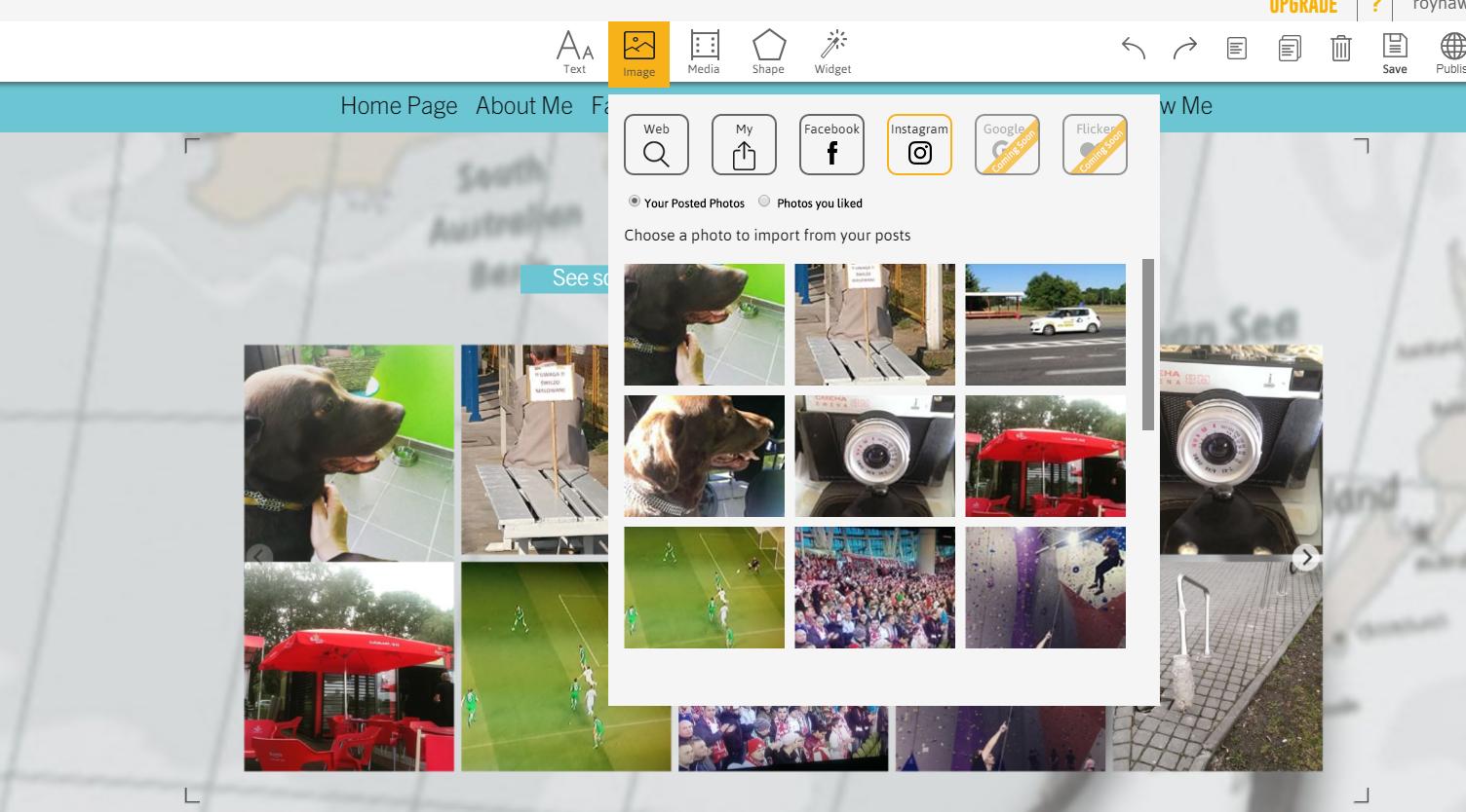 emaze.me tworzenie strony - edycja obrazków wybór