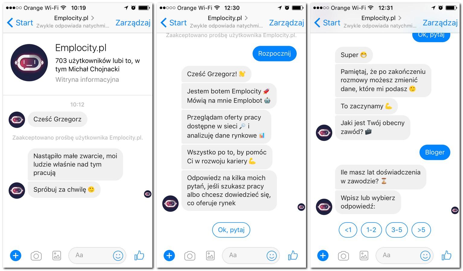 bot emplocity.pl messenger wymiana wiadomosci
