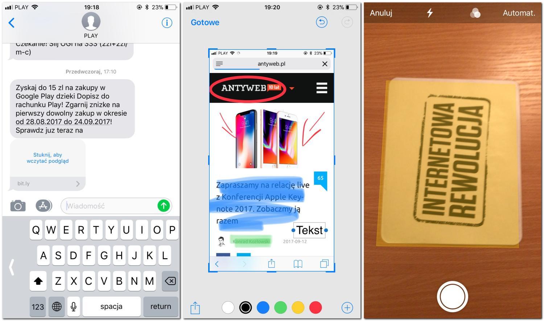 ios - screenshot, aparat, sms