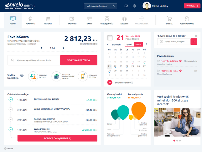EnveloKonto - strona startowa konta bankowego
