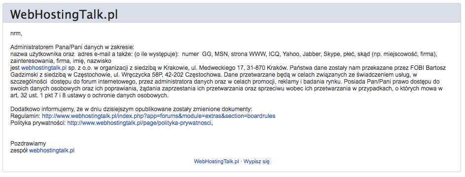 web hosting talk informacja