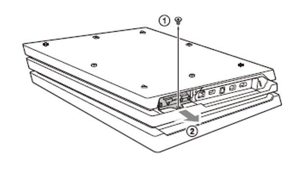 Schemat umiejscowienia kieszeni na dysk twardy w Playstation 4