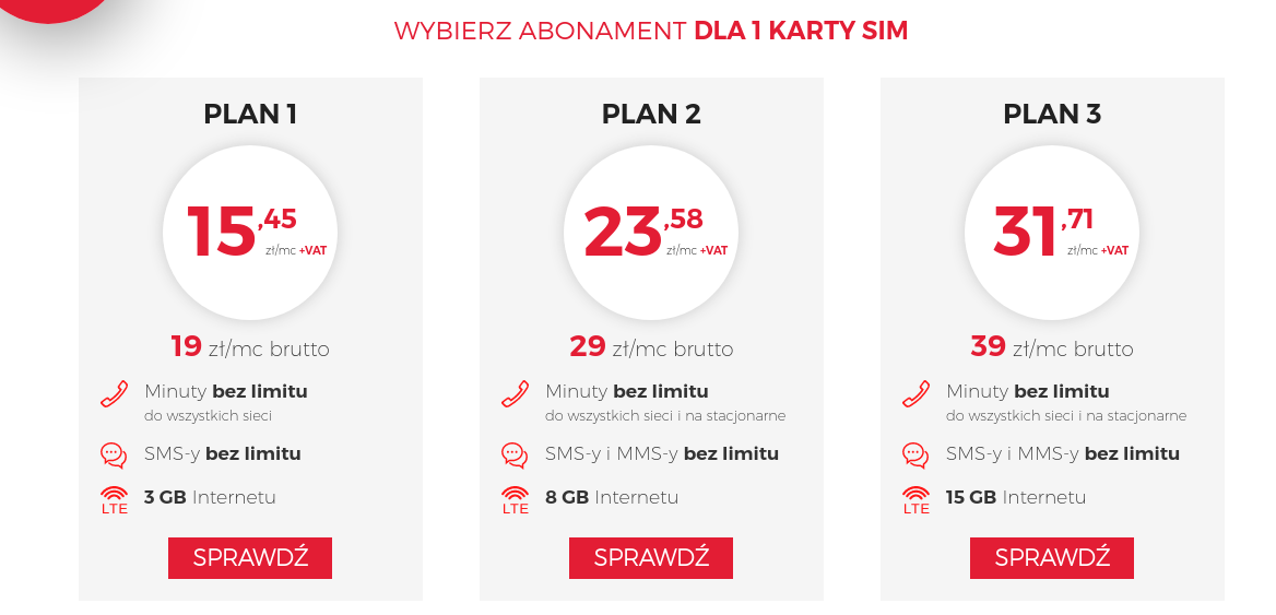 abonament dla 1 karty sim - virgin mobile