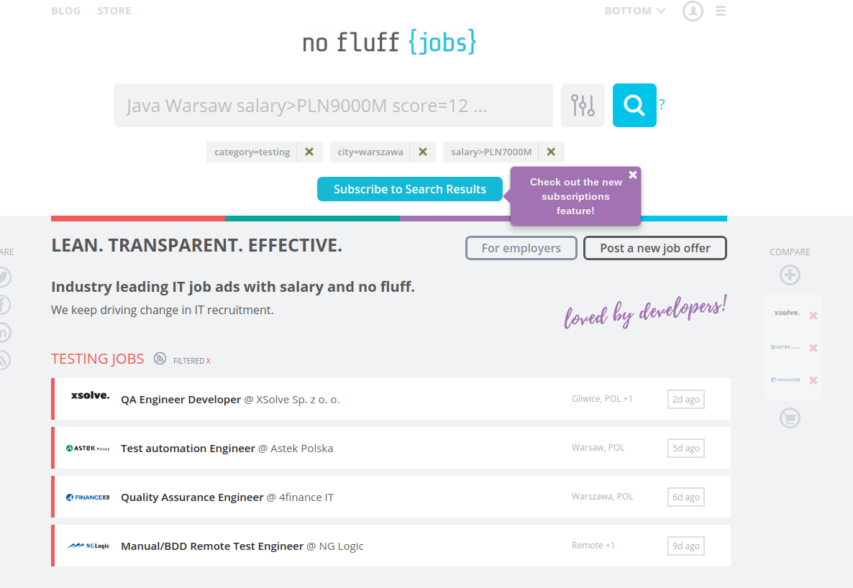 no fluff jobs - wybrane kategorie, filtry