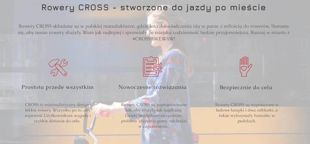 rowery cross do jazdy po mieście infografika