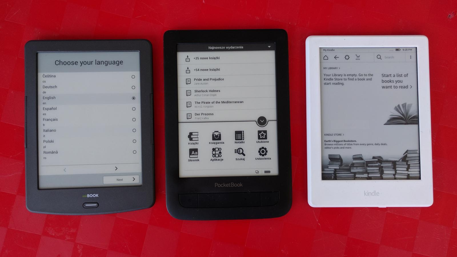 różne modele czytników do ebooków