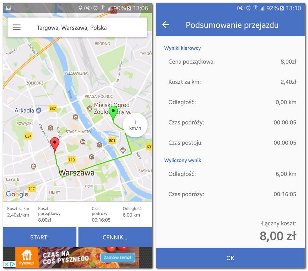 taksówkarze mogą korzystać z aplikacji