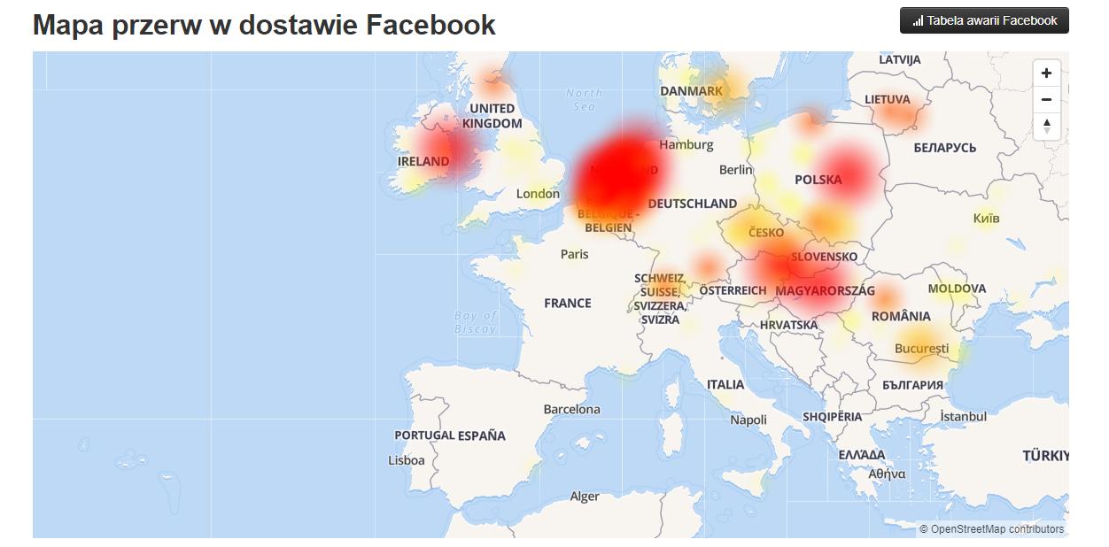 facebook nie działa - mapa przerw