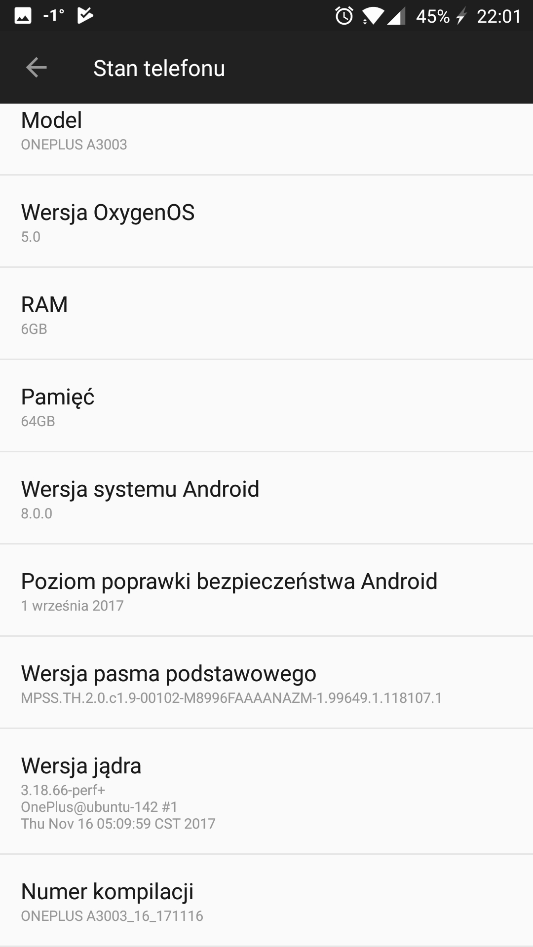 Oxygen 5.0 Android 8.0 Oneplus 3