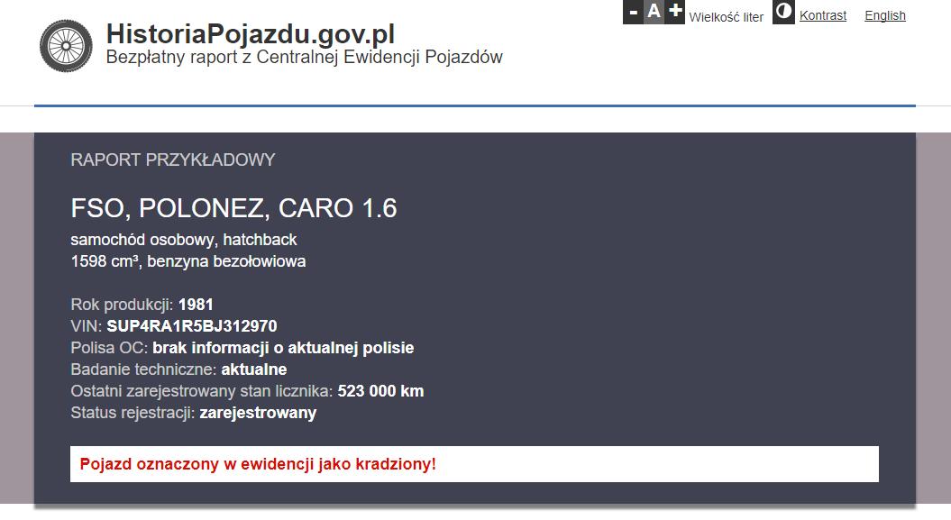 Przykładowy raport zHistoriapojazdu.gov.pl