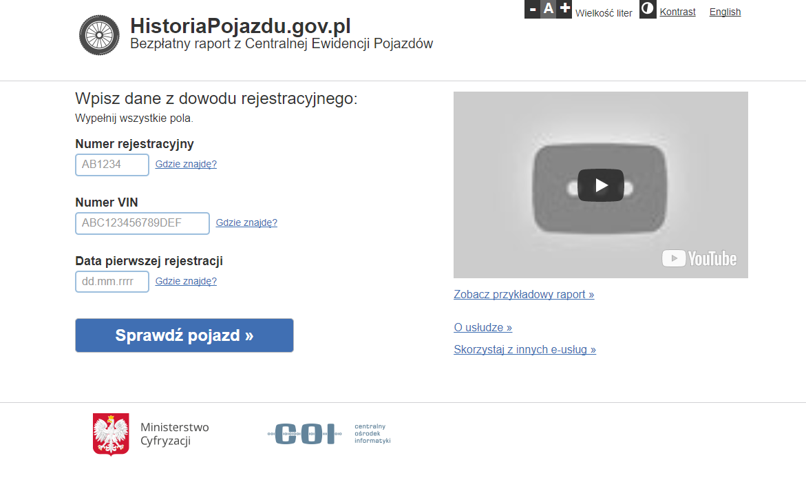 Rządowa strona Historiapojazdu.gov.pl