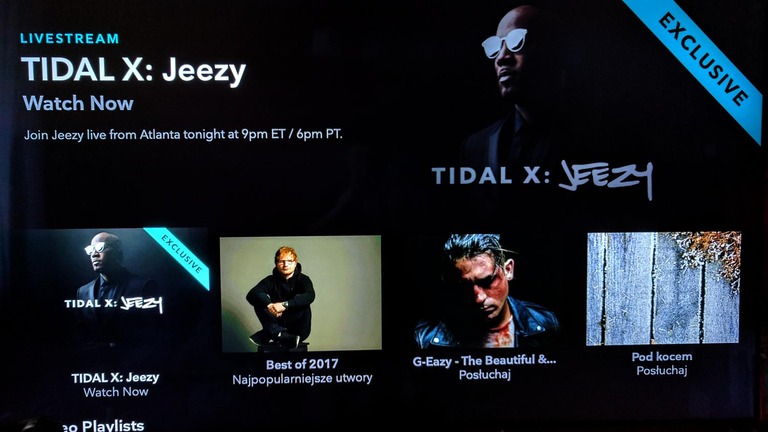 Tidal na Apple TV i Android TV