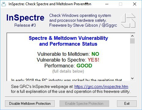 InSpectre oprogramowanie wykrywa Meltdown Spectre