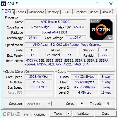 AMD Ryzen 5 2400G CPU-Z podkręcony OC