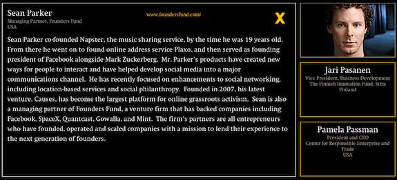 Sean Parker podczas Techonomy