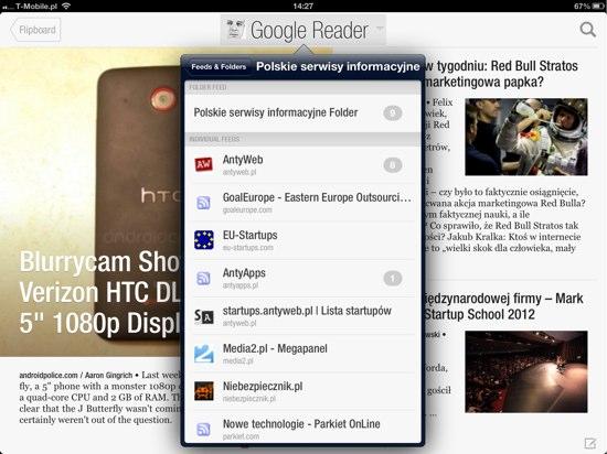 Wybór konkretnego źródła z Google Reader