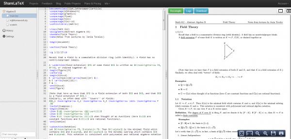 Algebra II   the LaTeX editor in the cloud