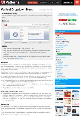 """Rysunek 4 Każdy wzorzec na stronie <a href=""""http://ui-patterns.com/"""">www.ui-patterns.com</a> opatrzony jest opisem objaśniającym zastosowanie konkretnego elementu"""