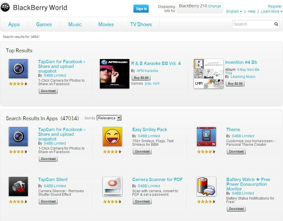 BlackBerryWorldS4BBSearch