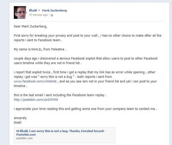 facebook vulnerability 2013 | khalil - خليل-1