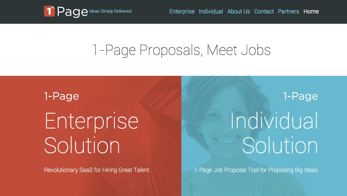 The One-Page Company Inc | Enterprise Hire 1-Page Job Proposal System