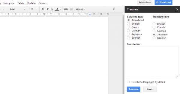 Dodatki w Google Docs