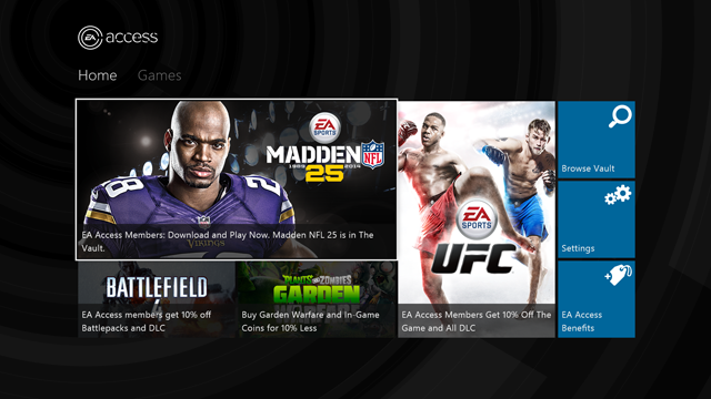 EA Access Homepage
