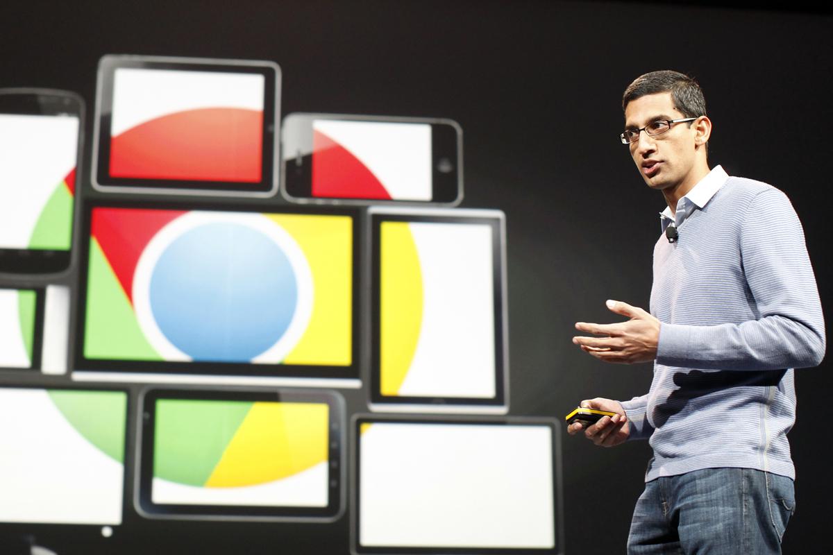 Sundar Pichai, senior vice president of Google Chrome, speaks during Google I/O Conference at Moscone Center in San Francisco, California