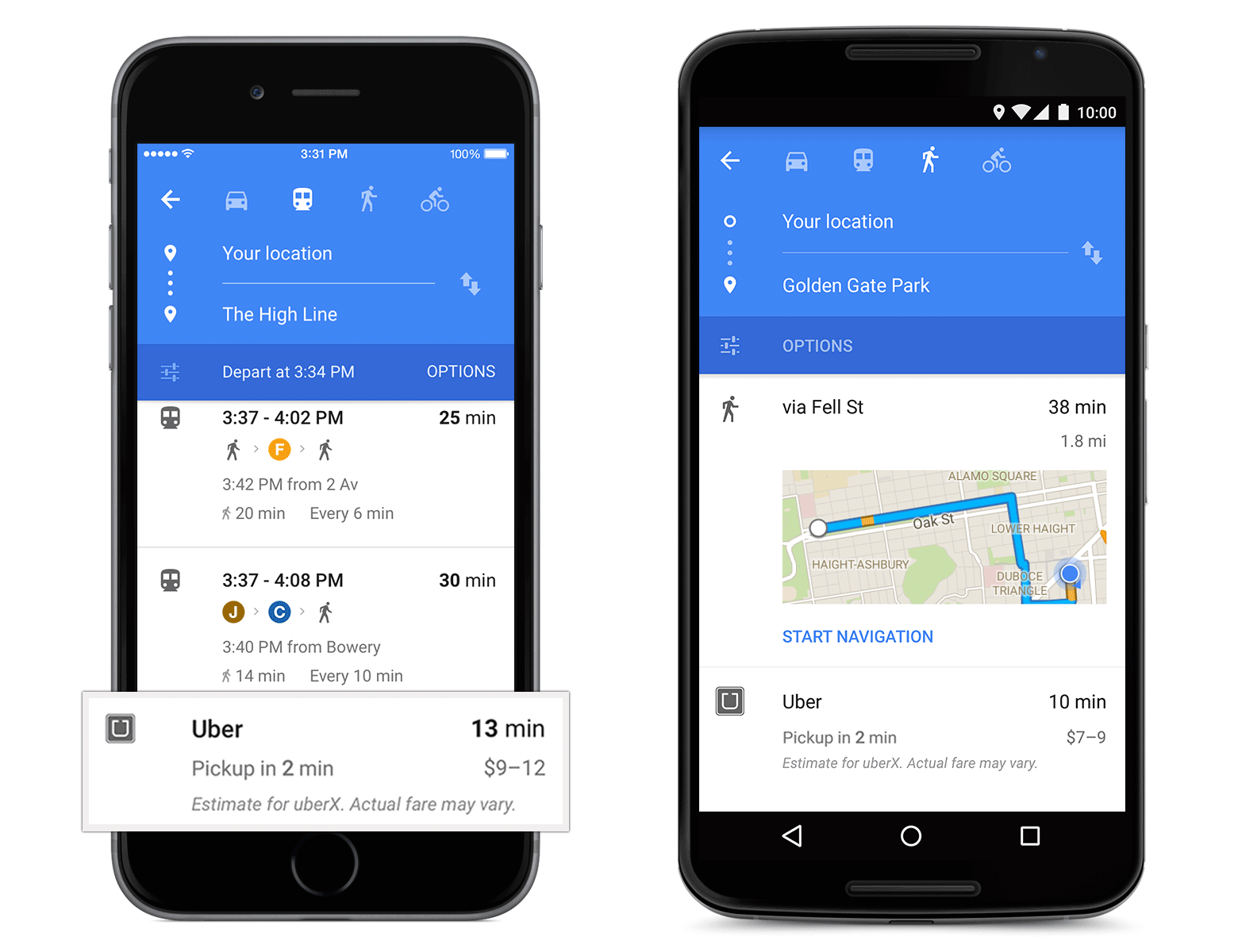 Uber card in Google Maps