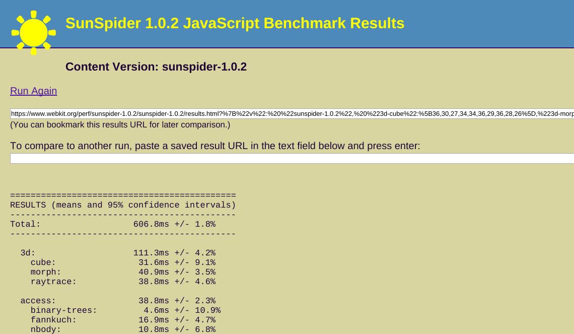 SunSpider 1.0.2 JavaScript Benchmark Results (sunspider-1.0.2 test suite)