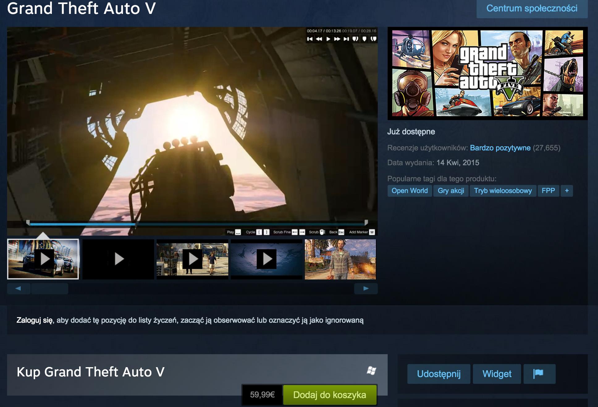 GTA 5 na Steamie