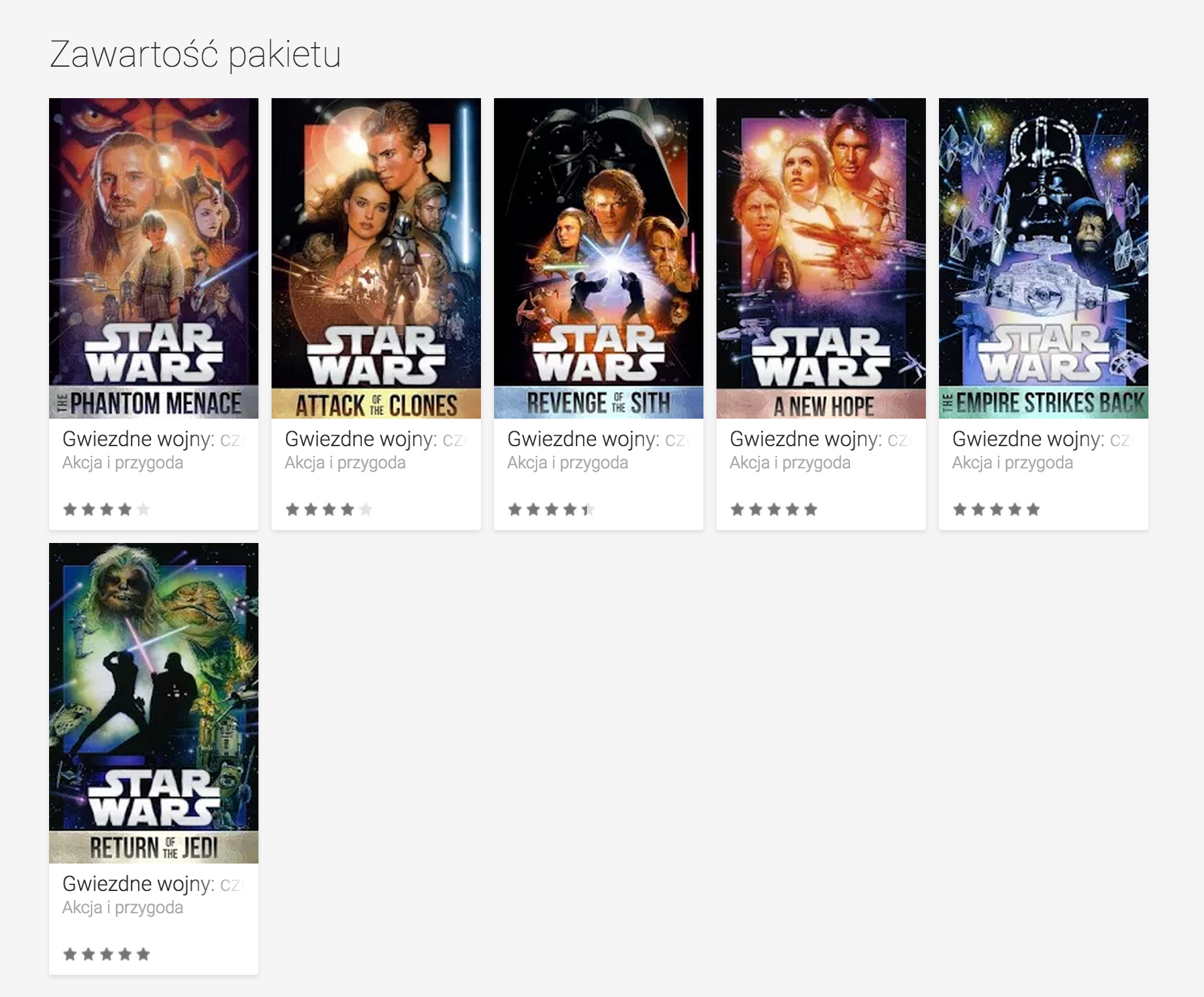 Star Wars: The Digital Movie Collection na Google Play