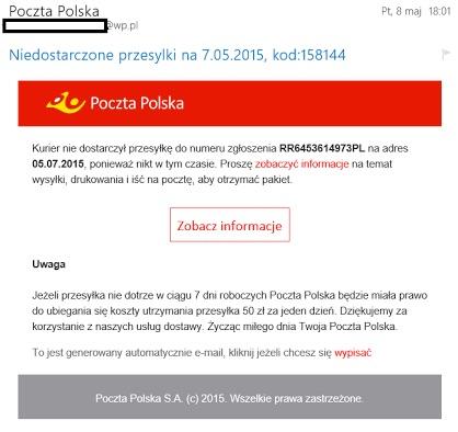 Niebezpieczny mail PP
