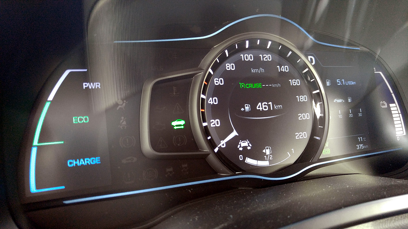 Standardowy tryb wyświetlacza Hyundai IONIQ Hybrid