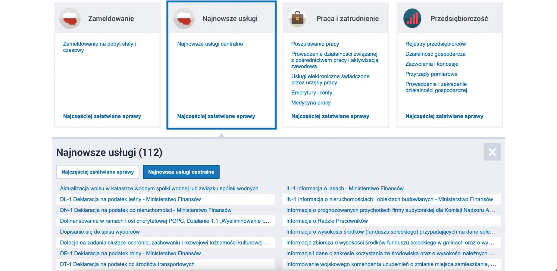 zrzut ekranu ze strony epuap.gov.pl