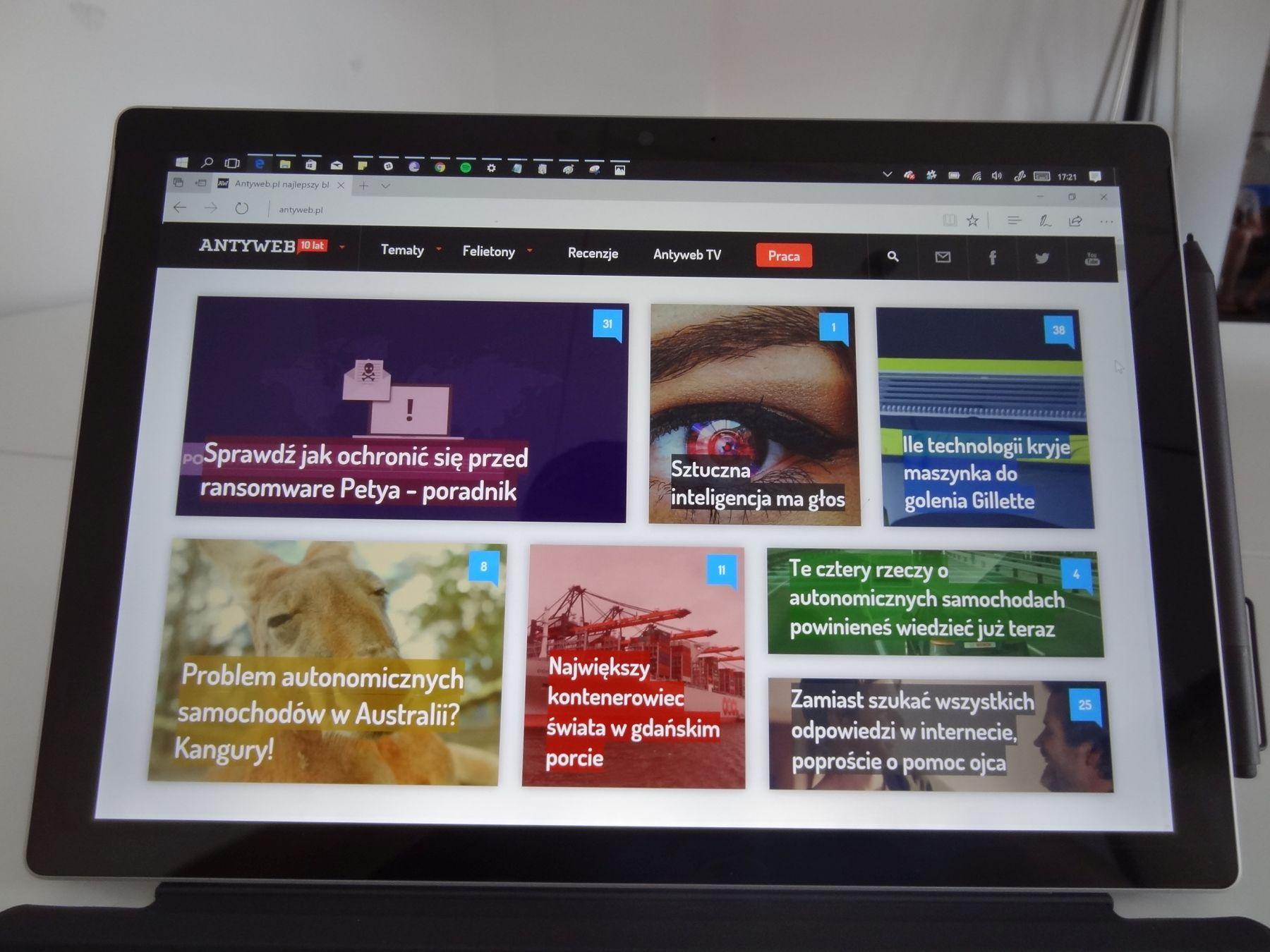 Surface Pro - ekran PixelSense