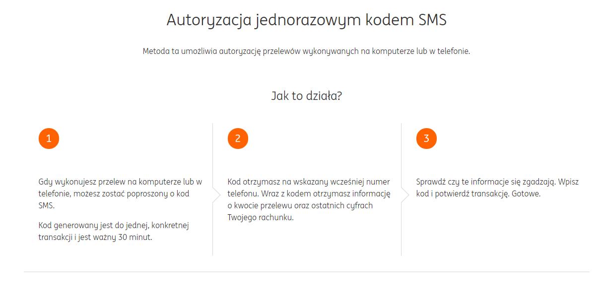 autoryzacja jednorazowym kodem sms ing