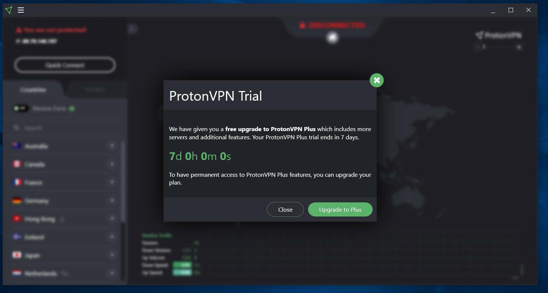 protonVPN trial
