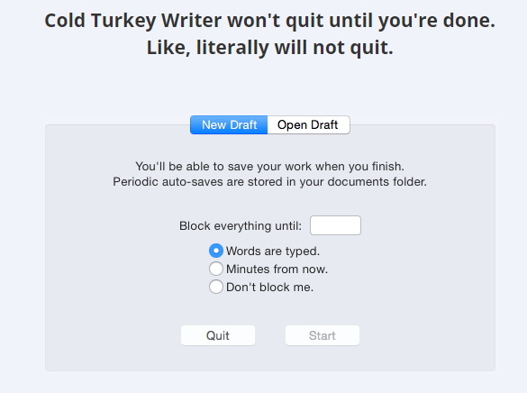 cold turkey writer okno screenshot